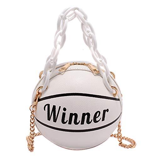 Kuang Damen Basketball geformte Mini Kette börse Schulter Messenger Handtasche Griff Tote Crossbody Taschen für Mädchen, Weiß (Weiß), Einheitsgröße