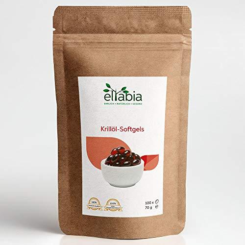 eltabia Krillöl hochdosiert 100 Kapseln Kleines Pack Reich an Astaxanthin und Omega 3 - Neutral im Geruch und Geschmack - Ohne Aufstoßen