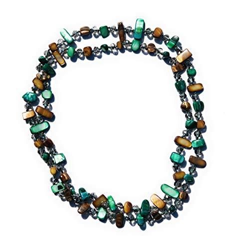 PARAISO CURVY Collares Largos de Colores Mujer Bisutería de piedras nacarinas y Cristal facetado (Tonos bosque)