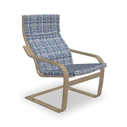 ABAKUHAUS Ethnisch Poäng Sessel Polster, Gestreifte Hippie Tile, Sitzkissen mit Stuhlkissen mit Hakenschlaufe und Reißverschluss, Marine-Blau und Creme