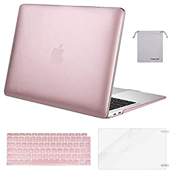 MOSISO MacBook Air 13 inch Case 2020 2019 2018 Release A2337 M1 A2179 A1932 Plastic Hard Shell&Keyboard Cover&Screen Protector&Storage Bag Compatible with MacBook Air 13 inch Retina Rose Gold