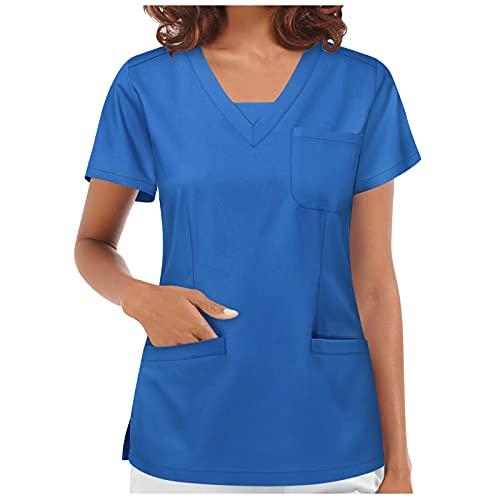 TT- Damen Krankenhauskleidung mit Pocket Schlupfkasack Kasack Pflegekasack Berufskleidung V-Ausschnitt Kurzarm Schlupfkasack Care Workers Krankenpfleger Pflege Kasack T-Shirt Blouse Tops (Blau, S)