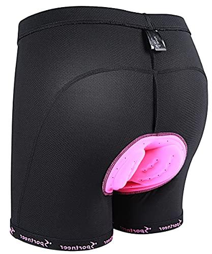 Sportneer Pantaloncini da Ciclismo da Donna, Pantaloncini da Ciclismo da Donna Imbottiti 3D Pantaloncini da Ciclismo da Donna Intimo da Ciclismo da Donna Pantaloncini Extra Lunghi/Extra Larghi, M