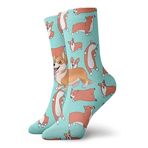 Kteubro Calcetines de vestir para hombre de dibujos animados Corgi Funny Polyester Crew Socks 30cm