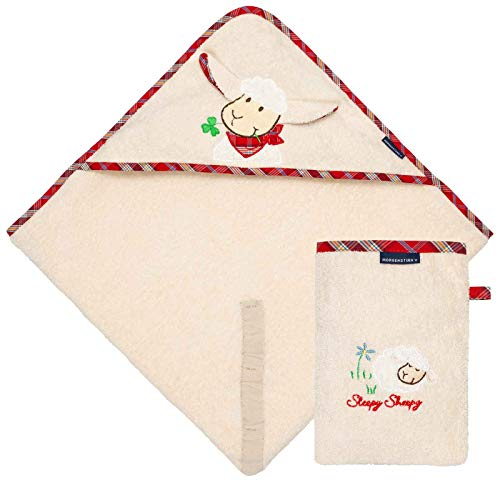 Morgenstern Set Kapuzenhandtuch mit Waschhandschuh aus Bio Baumwolle beige Frottee OEKO-TEX® Kapuze mit Ohren und Schafmotiv mit 100x100 cm extra groß