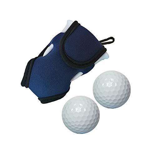 Hooshion Aufbewahrungstasche für Golfbälle und Tees mit 2 Bällen und 4 Tees, blau