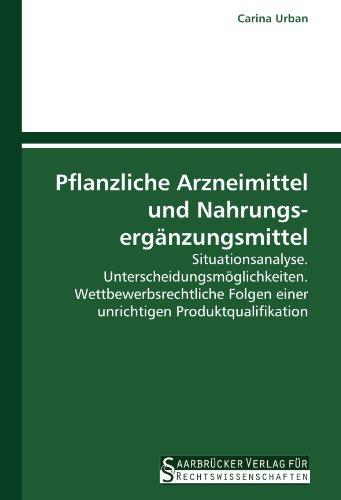 Pflanzliche Arzneimittel und Nahrungsergänzungsmittel: Situationsanalyse. Unterscheidungsmöglichkeiten. Wettbewerbsrechtliche Folgen einer unrichtigen Produktqualifikation.