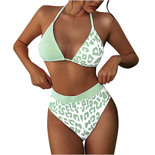 YANFANG Traje de baño de Mujer Conjunto de Mini Bikini para Mujer con Cubierta mínima y Correa de Tanga, de Dos Piezas Sexy Halter Vendaje Split Traje de baño Conjunto de Ropa de Playa