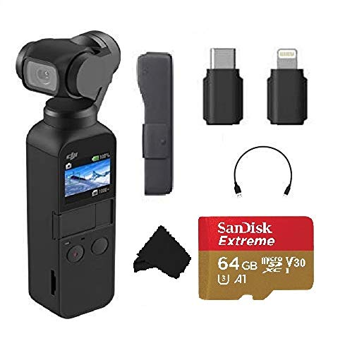 DJI Osmo Pocket Handheld 3-Axis 4k Gimbal Stabilizer with Integrated Camera, Attachable to Smartphone, Android, iPhone, with Extra 64GB Extreme MicroSD Card and More