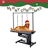 SUNCOO Pet Dog Grooming Table Heavy Duty Z-Lift Table with Arm Leash Loop Height Professional Adjustable Hydraulic Pump Medium Large Dog 43.3' L x 24' W x 21.6-38.9' H