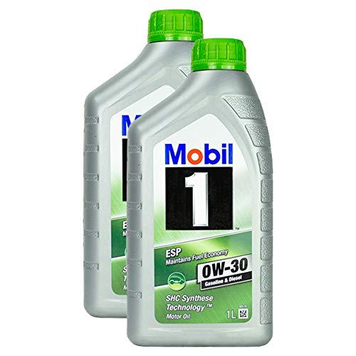 2x Motoröl Mobil 1 Esp 0w-30 1l Schmieröl Shc Synthese Technologie Diesel Benzin Hochleistung Langlebig Motoroil Oil One Shc Kaltstart Semi Synthetic Lange Lebensdauer