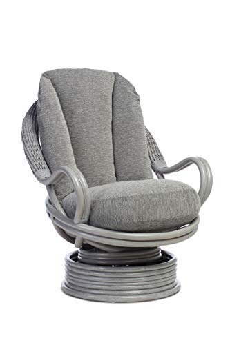 Desser Grey Deluxe Conservatory Swivel Rocker Chair with Slate Cushion – 360° Swivel with Rocking Motion – Cane Rattan Conservatory Indoor Furniture – Quallofil Technology – H108cm W83cm D98cm