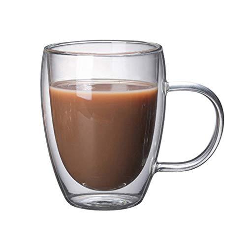 ZSHXX Taza de café Copa de café de Cristal Taza de Vino de la Botella de Agua Transparente 1pc Tazas de Vidrio de la Pared Doble Resistente al Calor (Color : 350ML)
