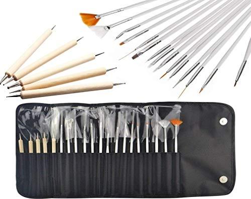 JZK Set de 20 pinceles uñas gel profesionales para diseño de uñas, cepillos uñas punzones para decoración de uñas pintura patrón puntos trabajo detalle, con bolso negro