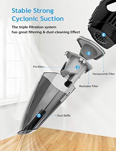 Holife Handheld Vacuum, Portable Cordless Vacuum Cleaner Handheld Car Vac for Wet & Dry Clean, 2200mAh Lithium Battery 30min Running Time, 2 Filters, Vac for Home Car Pet Hair