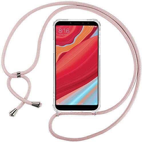 Ingen Funda con Cuerda para Xiaomi Redmi S2/Xiaomi Redmi Y2- Carcasa Transparente TPU Suave Silicona Case con Colgante-Rosado