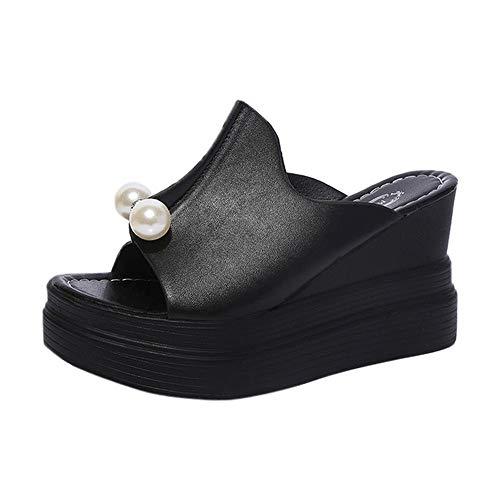Chaussure Mode Mule Sandale Compensé Plateforme 9 CM Femme Pas Cher Chic Perle Chaussons De Plage d'été Tongs Chunky Sandales Pantoufles Alaso