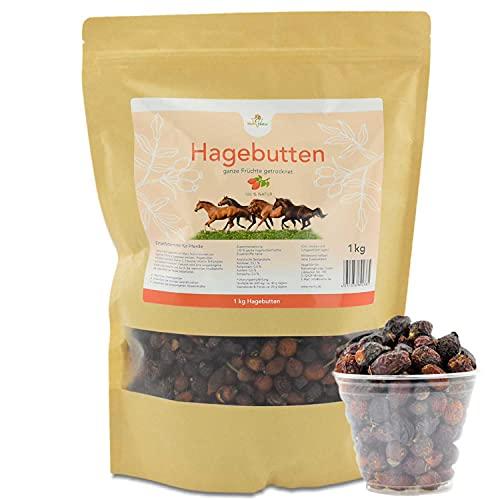 Mahu Natur 1 kg getrocknete Hagebutten Pferd - Ganze Früchte schonend getrocknet - Für Pferde, Ponys, Nager, Hamster mit viel Vitamin C