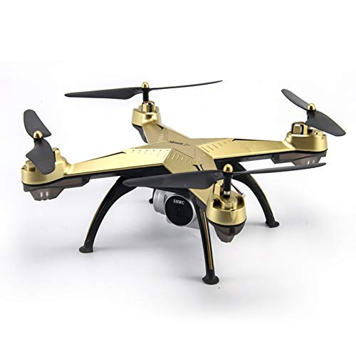 GRTVF Drone with 1080P HD Camera Live Video 120 Degree Wide-Angle WiFi RC Quadcopter with Altitude Hold, Headless Mode,3D Flips,One Key Return and Speed Adjustment (Color : Gold)