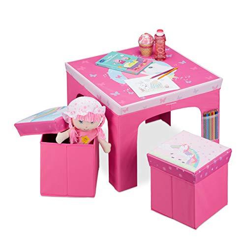 Relaxdays Mobiliario Plegable, Taburetes de Almacenamiento, Mesa Infantil, Rosa, DM, plástico y gomaespuma, 48 x 59,5 x 59,5 cm