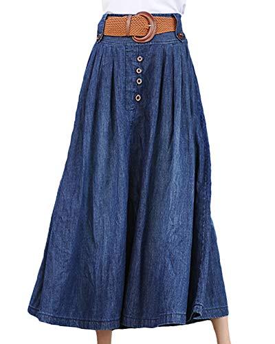 Shengwan Gonna Lunga di Jeans Donna Vita Alta Maxi Gonne Pieghe Denim Blu2 6XL