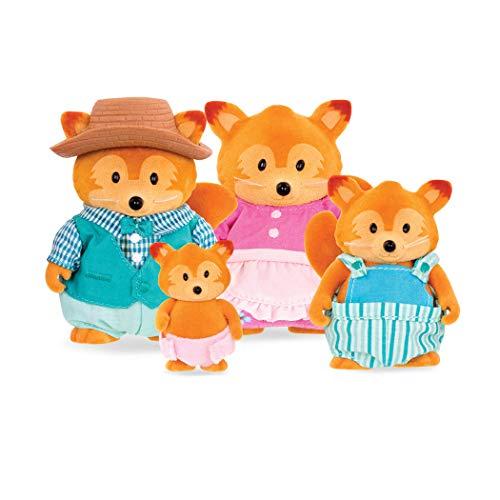 Li'l Woodzeez Fuchs Tierfamilie – 4 weiche Tierfiguren mit Bilderbuch auf Englisch – Adventskalender Füllung, Spielzeug Tiere Set (5 Teile) Spielzeug für Kinder ab 3 Jahren
