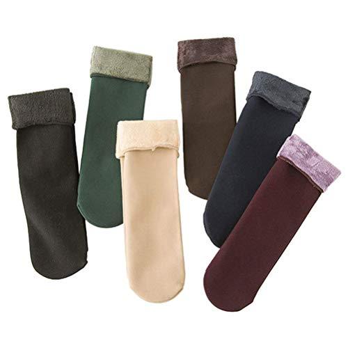 Winterwarme Socken verdicken,Warme Schneesocken Frauen Winter Socken 6 Paar Samt Verdickung Beiläufig Zuhause Fußboden Socken Fleece gefüttert Dicke Socke
