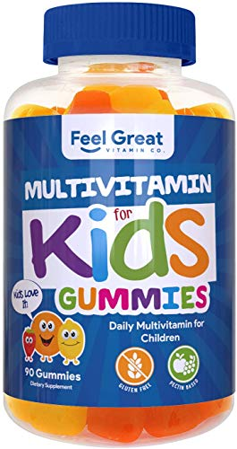 Feel Great Vitamin Co. Multivitamin Gummies for Kids | Daily Chewable Supplement for Children with Vitamins A, Vitamin C, D3, E, B6, B12, Zinc, Iodine | Immune System & Wellness Support* | 90 Ct
