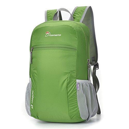 Mountaintop Pieghevole 25L Zaino / Zaino leggero Packable per i Viaggi, il Campeggio, Trekking, Scuola, Sport, Ultraleggero e Pratico verde muschio