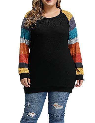 Allegrace Women's Plus Size Tunic Tops Lightweight Knit Long Sleeve Shirts Color Block Loose Tunics Rainbow Sleeve Black 14W