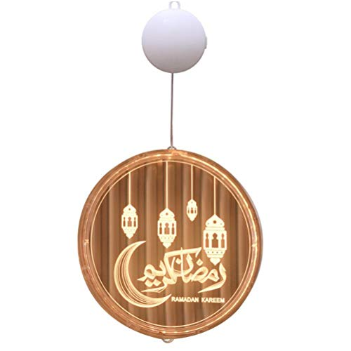 Fyeep Ramadan Lampe, Eid Mubarak Mond Ornamente hängen dekorative LED-Licht, Mondschein Eid Mubarak 3D Dekoration Muslim Ramadan Festival Dekoration Halbmond Star Lanterns