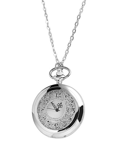 Silver2Love Chrome Ladies necklace watch quartz movement with 80cm over the head chain, Gift-boxed