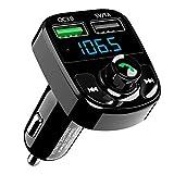 Bluetooth 4.2 FM Transmitter, SonRu Wireless Radio Audio Adapter MP3 Player Kfz Kit, 2 Auto USB Ladegerät (5V/3.4A Ausgang), 3.5mm AUX Eingang mit Groß LED Bildschirm Display und TF Karte Slot