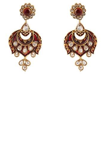 INAYA Latón Cristal y Oro Amarillo Plateado Set de Pendientes con Rojo Chaton Piedra, 1 par