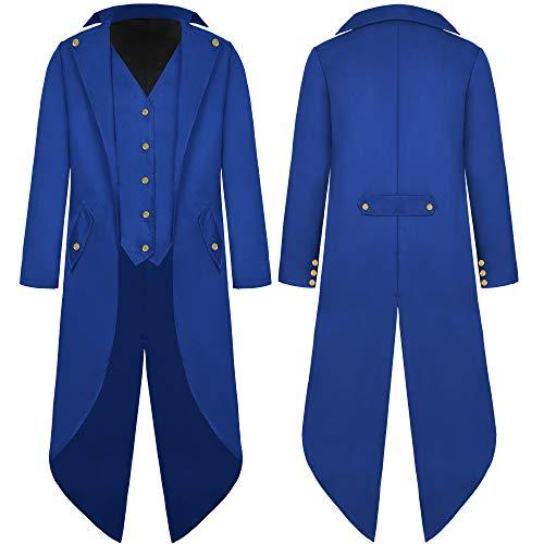 G007ES - Chaqueta para hombre, estilo steampunk, estilo victoriano, estilo vintage, con falda de cintura, uniforme, carnaval, Halloween