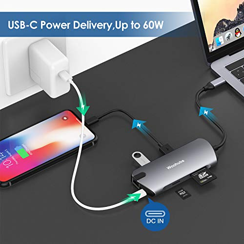 USB C Hub Multiport dongle, 8-in-1 USB C Adapter with 4K USB C to HDMI, USB C Charging, Gigabit Ethernet,3 USB 3.0, SD/TF Card Reader, USB C Dock Compatible Apple MacBook Pro 13/15 (Thunderbolt 3)