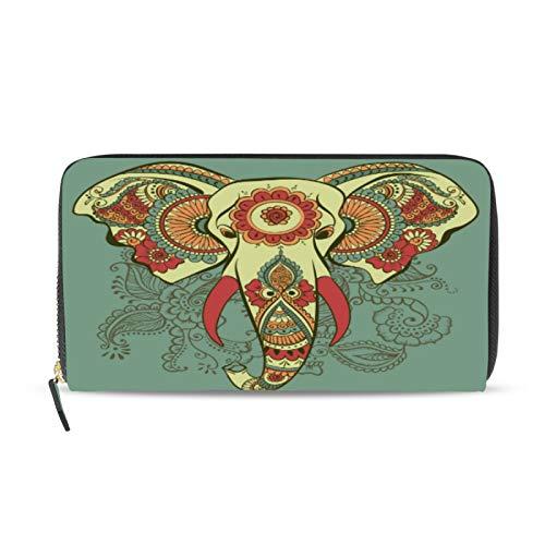 iRoad Geldbörse Leder Clutch Wallet Boho Ethno Elefant Lotus Kreditkartenetui Münzfach Personalisierte Brieftaschen für Frauen Mädchen