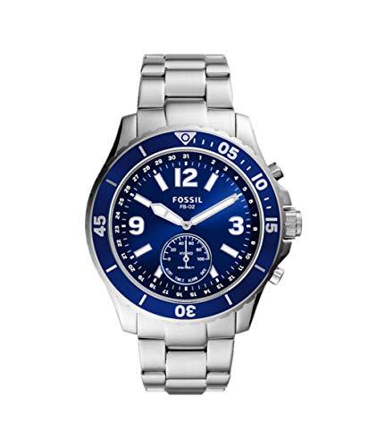 Fossil Hybrid Smartwatch FB-02 mit blauem Zifferblatt und silberfarbenem Edelstahlarmband für Herren FTW1304