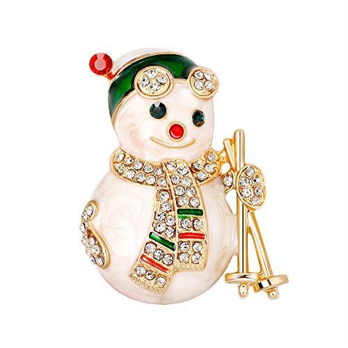 YAZILIND Rhinestone Cartoon Snowman Scarf Christmas Breastpin Corsage Women Girls Brooch Pins Xmas Jewellery Gift