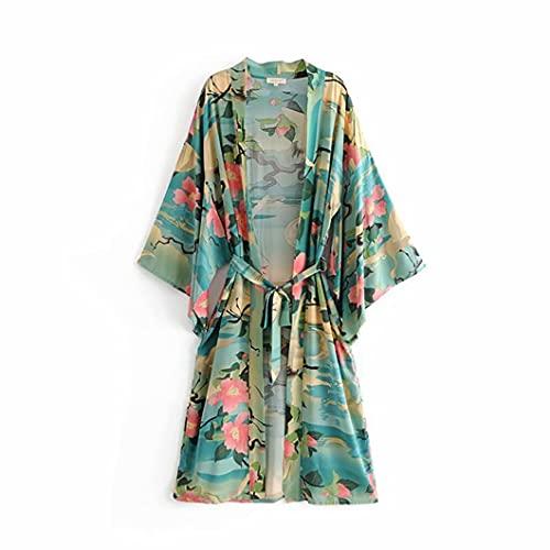 GXFNS Bata de Vestir de Kimono - Estampado Floral Kimono Robe Kimono...