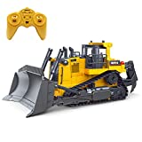 Fisca Remote Control Bulldozer RC 1/16 Full Functional Construction Vehicle, 2.4Ghz 9 Channel Dozer Front Loader Toy with Light and Sound for Kids Age 6, 7, 8, 9, 10 and Up Years Old