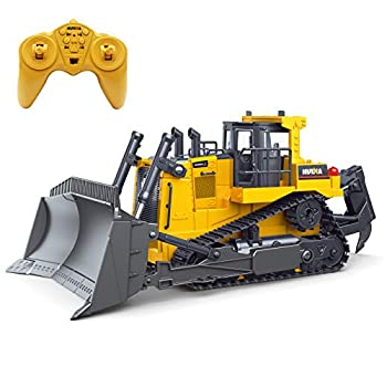 Fisca Remote Control Bulldozer RC 1/16 Full Functional Construction Vehicle 2.4Ghz 9 Channel Dozer Front Loader Toy with Light and Sound for Kids Age 6 7 8 9 10 and Up Years Old
