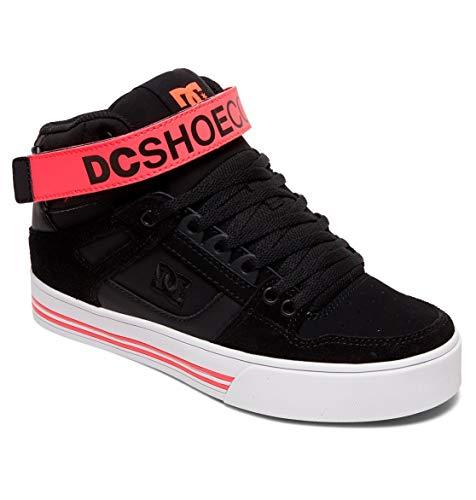 DC Women's Pure HIGH-TOP V Skate Shoe, Black/Hot Pink, 10.5 M US
