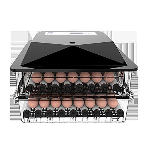 ROYWY Vollautomatische Brutmaschine 56 Eier Brutapparat Flächenbrüter Inkubator Brutkasten,Effizienter LED Beleuchtung Feuchtigkeitsfest Energiesparend Kühltechnologie/Schwarz