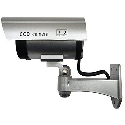 Videocamera Fittizia IR1100 S con LED e Imitazione IR Telecamera Finta Falsa Dummy Camera Sorveglianza CCTV Colore Argento