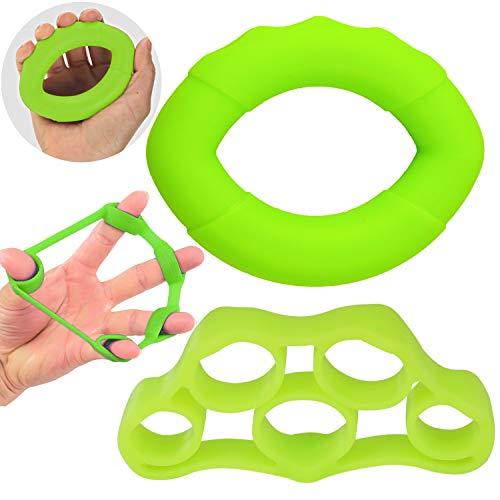 Silikon Handtrainer Fingertrainer Set, Qianyou Oval Trainingsring Finger Expander Strengthener Unterarm Trainingsgerät Griffkraft Exerciser für Arthrose Handrehabilitation Fitness(Grün)