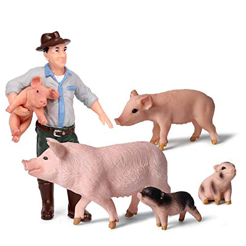 Animal Keeper with Farm Animals Figurines Simulated Farm Realistic Plastic Farmer Feeder Animals Figurines for Collection Educational Props (Feeder and Pig  Set of 5)