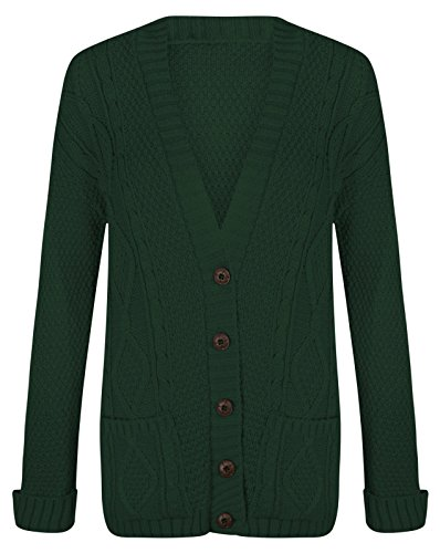 Preisvergleich Produktbild Crazy Girls New Damen Damen Langarm Button Top Chunky Aran Kabel gestrickt Grandad Strickjacke EU 36-42 (M / L - EU40 / 42,  Grün)