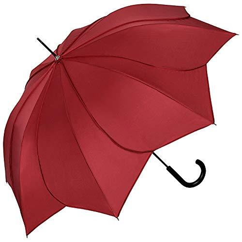 VON LILIENFELD Regenschirm Damen Sonnenschirm Brautschirm Hochzeitsschirm gedrehte Blütenform: Minou Bordeaux mit Ziernähten Bordeaux