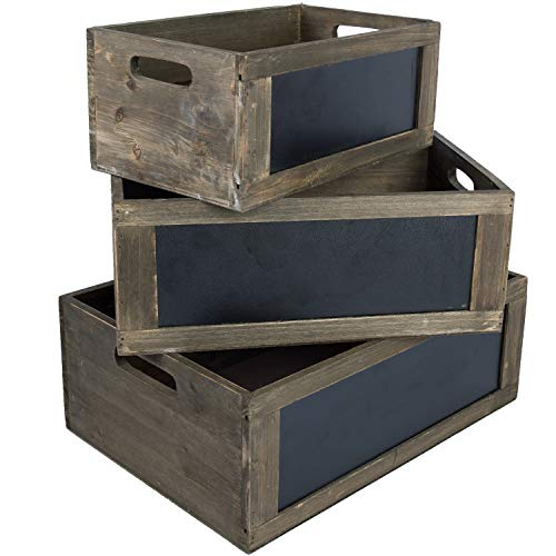 MyGift Vintage Distressed White Wood Nesting Storage Crates with Chalkboard Panels and Cutout Handles, Set of 3